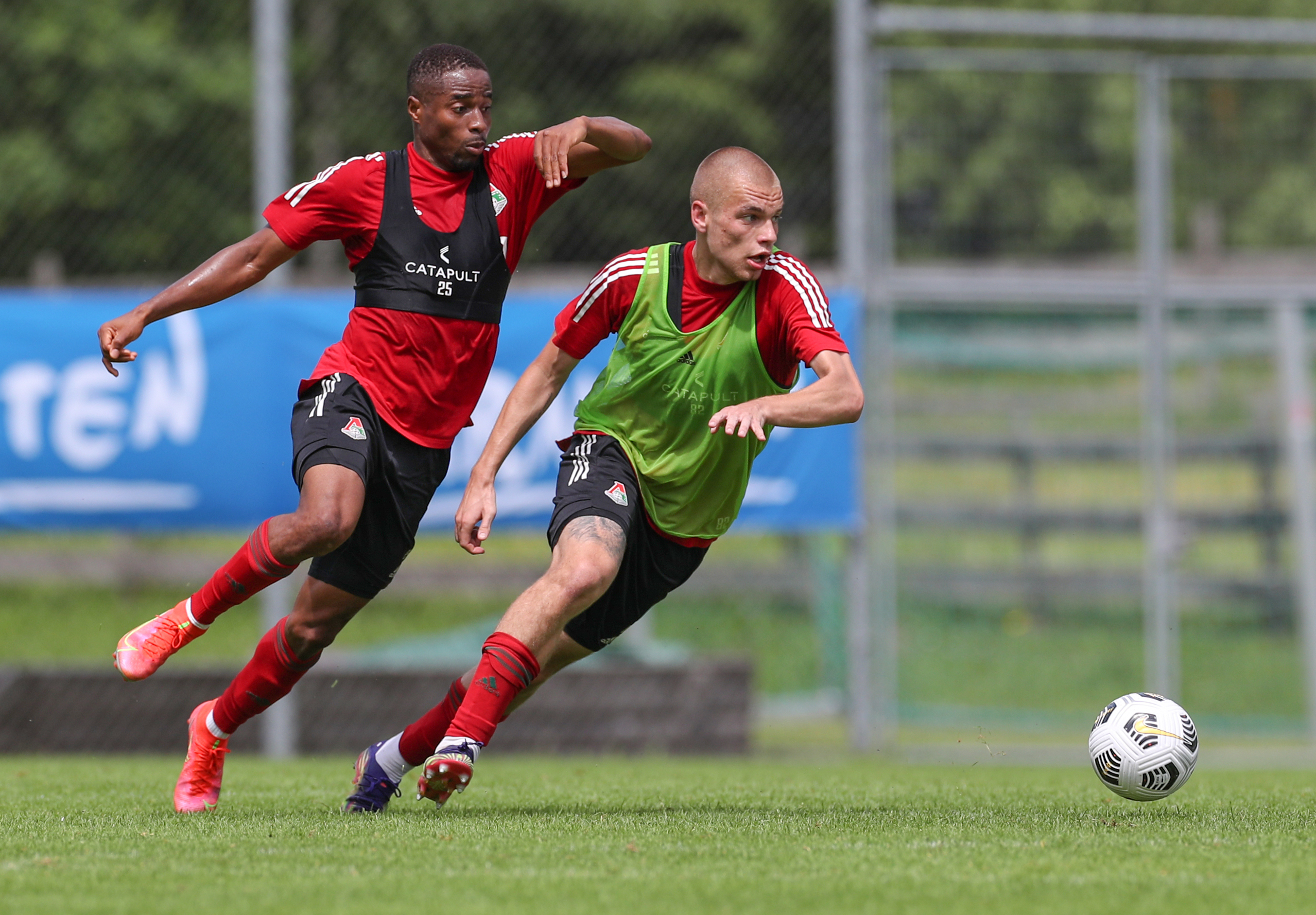 The seventh day of training camp in Austria. Two-sided game